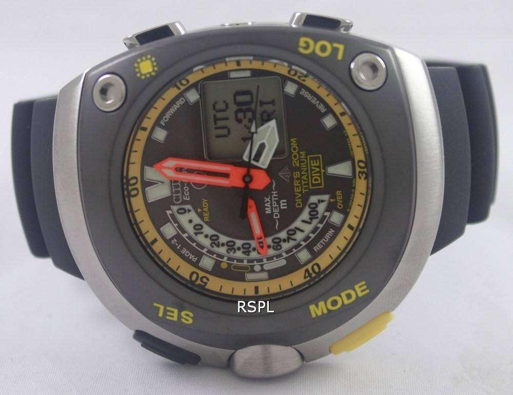 Citizen diver titanium promaster cyber aqualand watch jv0055 00e zetawatches - Citizen titanium dive watch ...