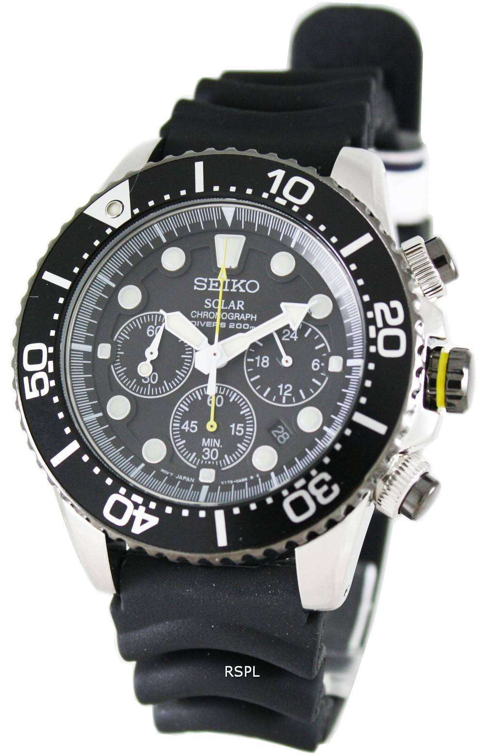 Seiko solar chronograph ssc021p1 mens watch zetawatches for Solar watches