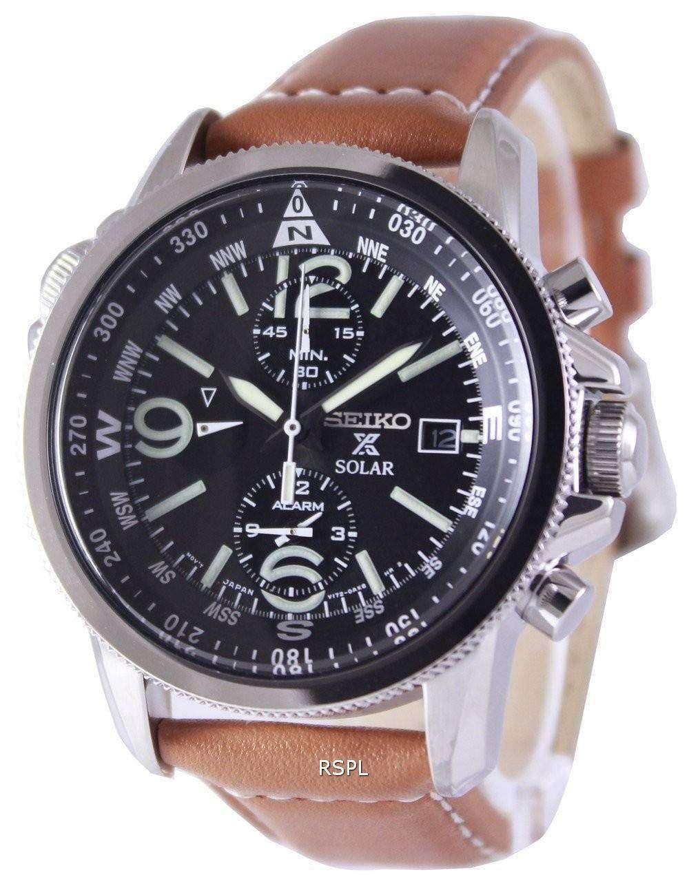 Seiko solar alarm chronograph ssc081 ssc081p1 ssc081p men 39 s watch zetawatches for Seiko solar
