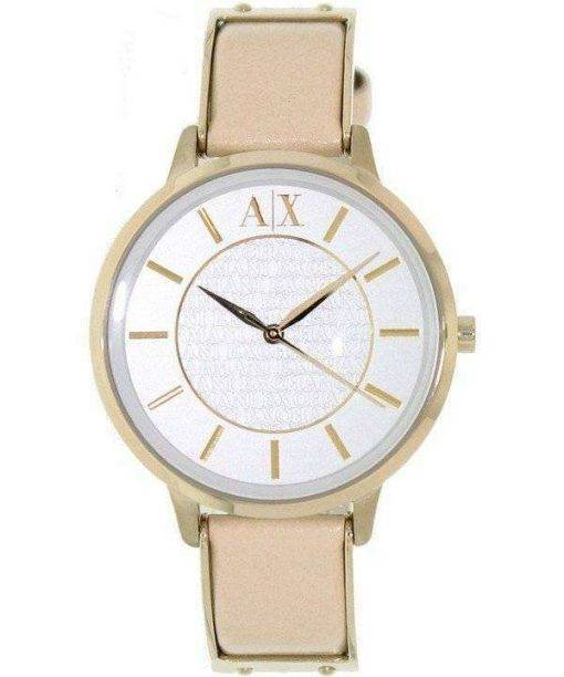 Armani Exchange White Dial Leather Strap AX5301 Ladies Watch