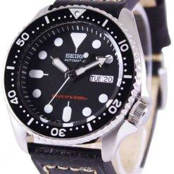 Seiko Automatic Divers Black Leather SKX007K1-LS2 200M Mens Watch