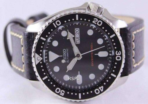 Seiko Automatic Divers Black Leather SKX007K1-LS2 200M Mens Watch