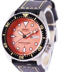 Seiko Automatic Divers Black Leather SKX011J1-LS2 200M Mens Watch