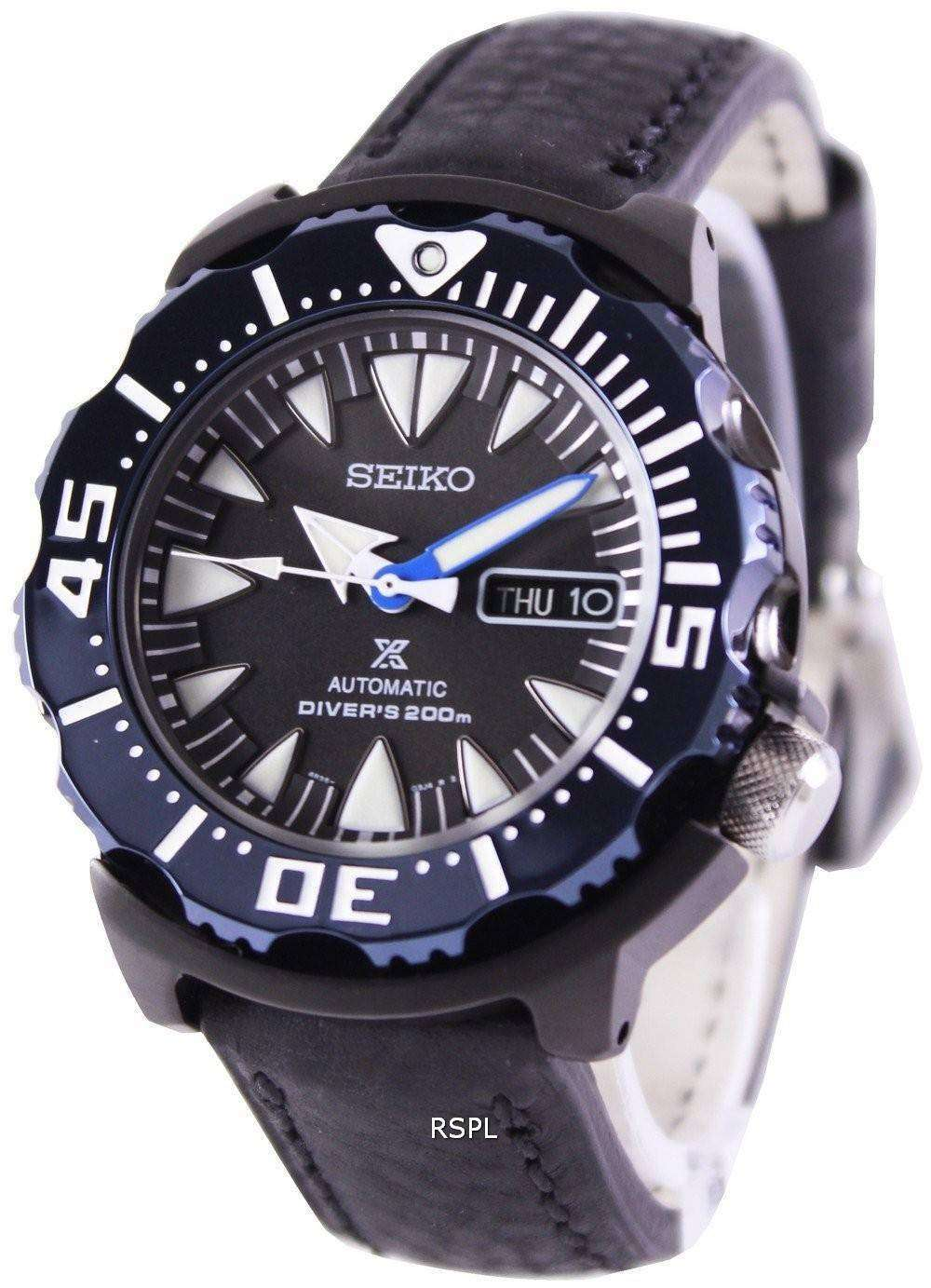seiko prospex air diver 200m ratio black leather srp581k1