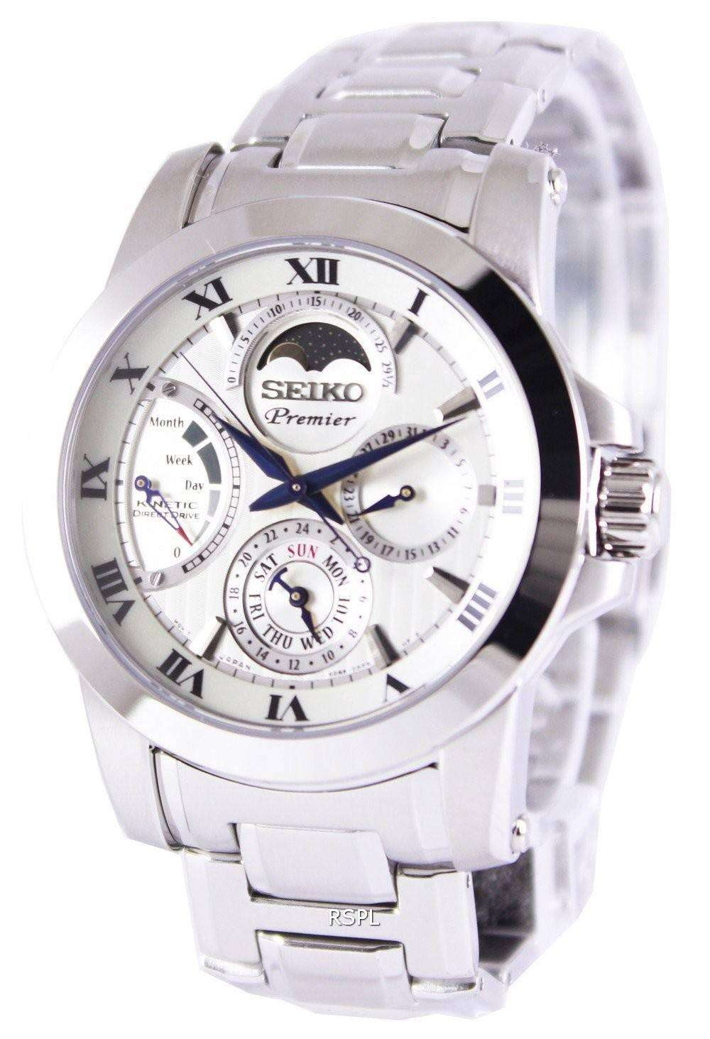 Seiko premier kinetic direct drive moon phase srx011p1 srx011p mens watch zetawatches for Watches direct