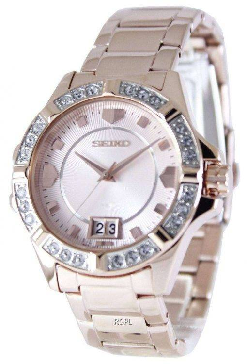Seiko Quartz Crystals Rose Gold SUR802P1 SUR802P Women's Watch