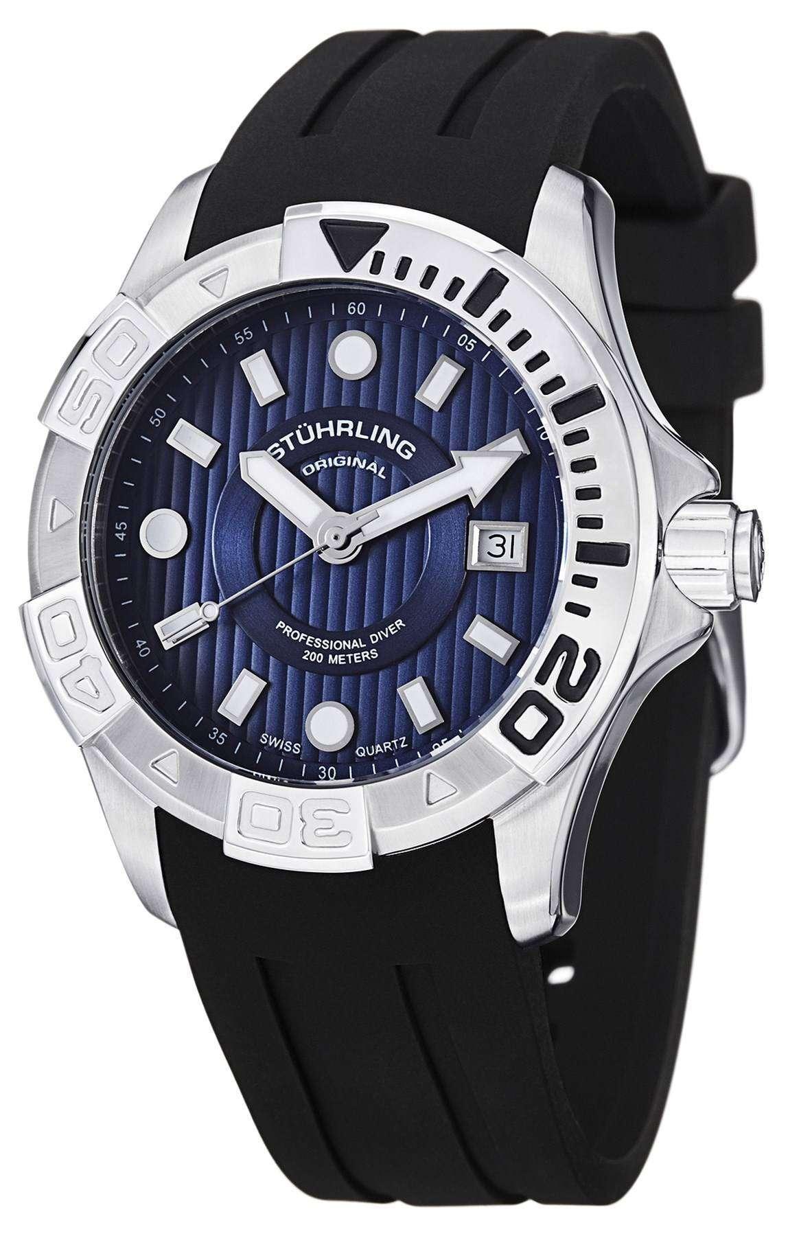 75da41a11bc Stuhrling Original Aqua Diver Manta Ray Swiss Quartz Black Dial 718.03 Mens  Watch