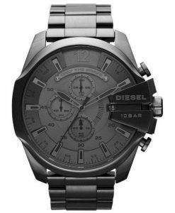 Diesel Mega Chief Quartz Chronograph Grey Dial Black IP DZ4282 Mens Watch