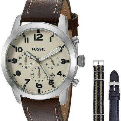 Fossil Pilot 54 Chronograph Leather And Nylon Box Set FS5182SET Mens Watch