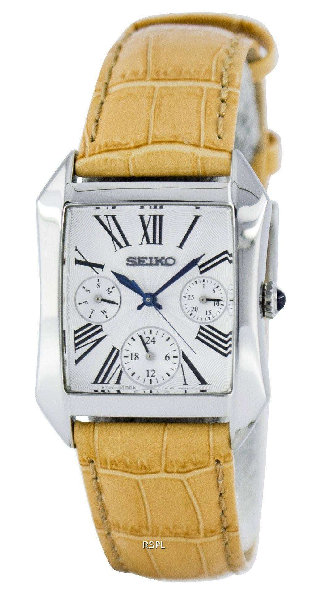 38b486c28 Seiko Rectangular Multi-Function Quartz Analog SKY737P2 Women's Watch