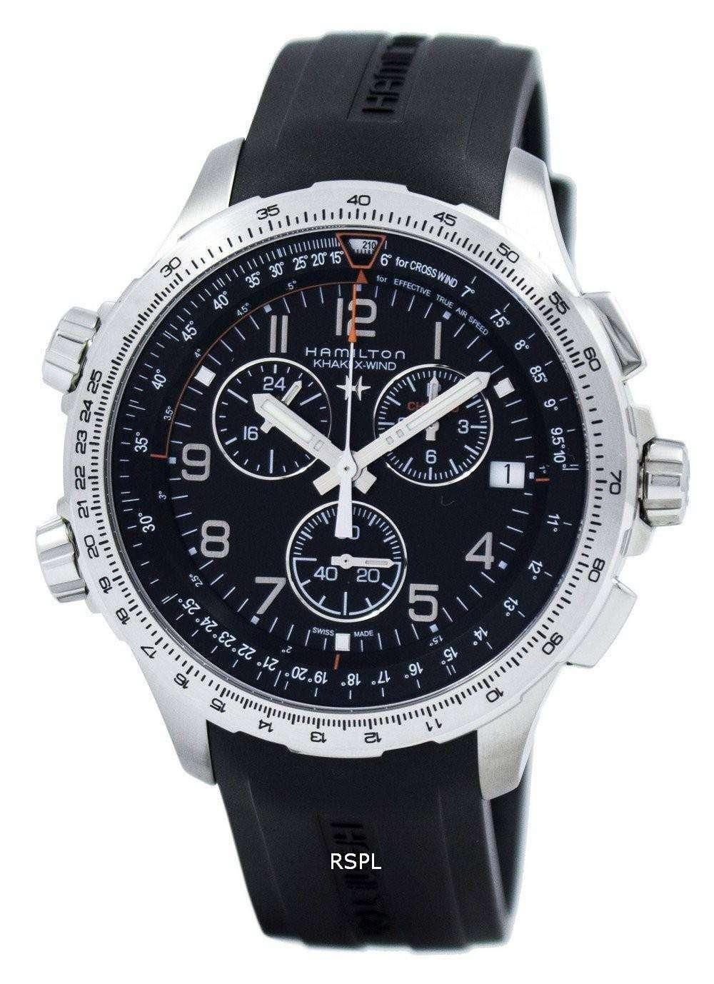 Hamilton Khaki Aviation X-Wind Chronograph Quartz GMT H77912335 Men s Watch aff7a92712cd
