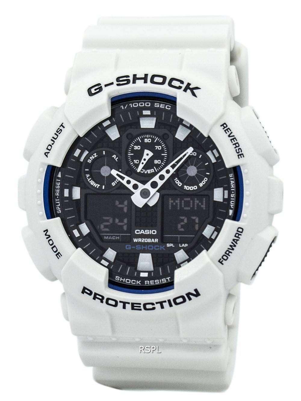 60d2de0ddbdb Casio G Shock World Time White Analog Digital Ga 100b 7a Mens Watch Casio G  Shock