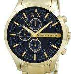 Armani Exchange Quartz Gold-Tone Chronograph Black Dial AX2137 Mens Watch