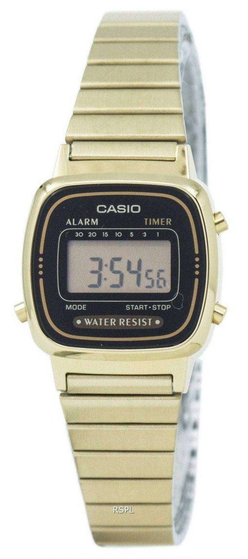 Casio Digital Stainless Steel Alarm Timer LA670WGA-1DF LA670WGA-1 Womens Watch
