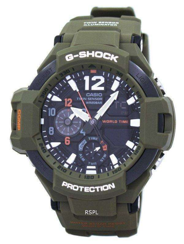 Casio G-Shock Gravitymaster Analog Digital Twin Sensor World Time GA-1100KH-3A Men's Watch