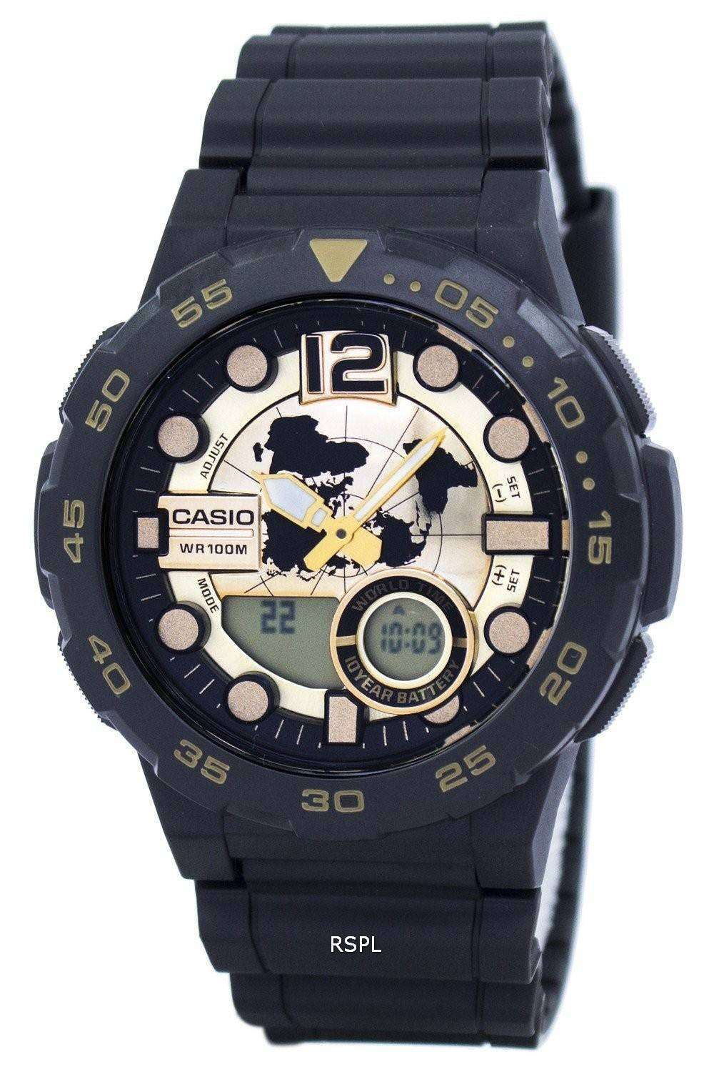 539f699c008 Casio World Time Alarm Analog Digital AEQ-100BW-9AV Men s Watch ...
