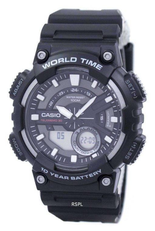 Casio Telememo 30 World Time Alarm Analog Digital AEQ-110W-1AV Men's Watch