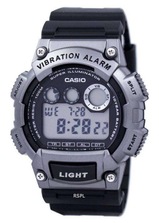 Casio Super Illuminator Dual Time Vibration Alarm Digital W-735H-1A3V Men's Watch
