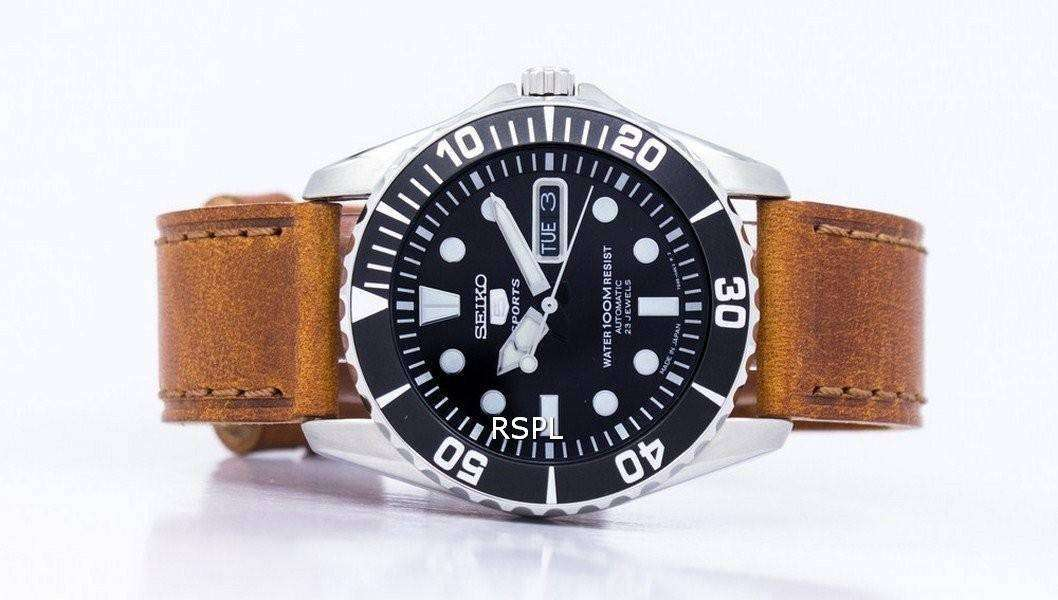 reputable site 9a0ed db643 Seiko 5 Sports Automatic 23 Jewels Ratio Brown Leather SNZF17J1-LS9 Men's  Watch