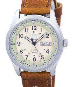 Seiko 5 Sports Military Automatic Japan Made Ratio Brown Leather SNZG07J1-LS9 Men's Watch