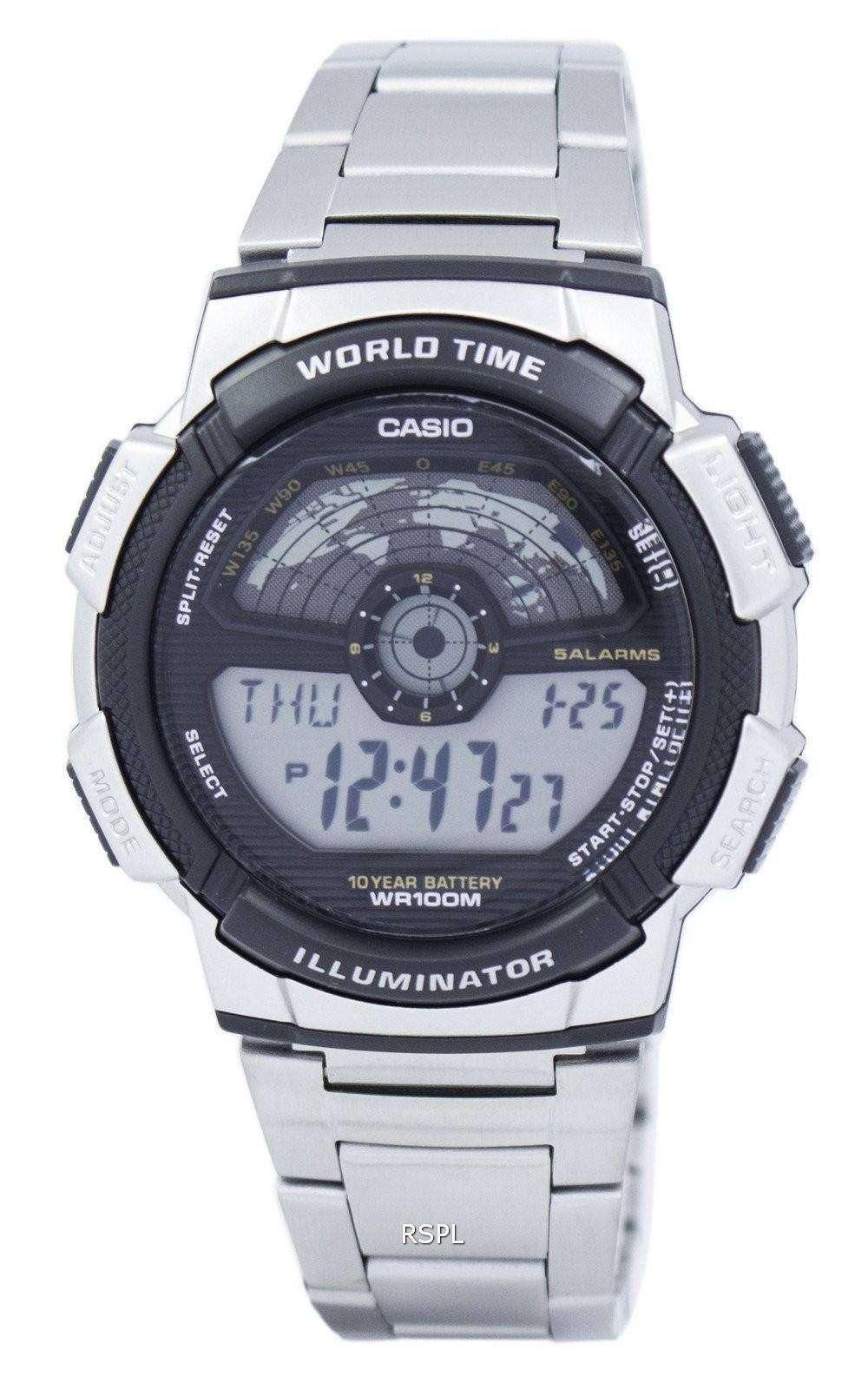 Casio Youth Illuminator World Time Digital Ae 1100wd 1av Ae1100wd