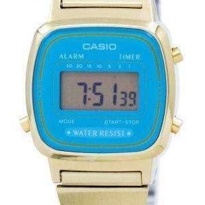 Casio Digital Stainless Steel Alarm Timer LA670WGA-2DF LA670WGA-2 Womens Watch