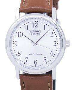 Casio Quartz Silver Dial Brown Leather MTP-1095E-7BDF MTP-1095E-7B Mens Watch