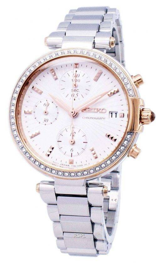 Seiko Chronograph Quartz Diamond Accent SNDV44 SNDV44P1 SNDV44P Women's Watch