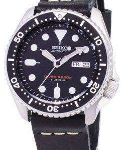 Seiko Automatic SKX007J1-LS14 Diver's 200M Japan Made Black Leather Strap Men's Watch