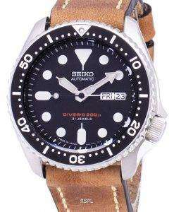Seiko Automatic SKX007J1-LS17 Diver's 200M Japan Made Brown Leather Strap Men's Watch