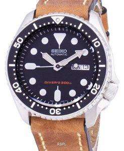 Seiko Automatic SKX007K1-LS17 Diver's 200M Brown Leather Strap Men's Watch