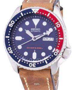 Seiko Automatic SKX009K1-LS17 Diver's 200M Brown Leather Strap Men's Watch