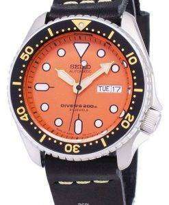 Seiko Automatic SKX011J1-LS14 Diver's 200M Japan Made Black Leather Strap Men's Watch