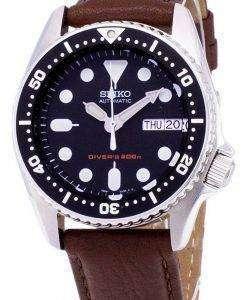 Seiko Automatic SKX013K1-MS7 Diver's 200M Brown Leather Strap Men's Watch