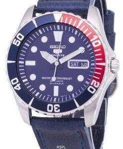 Seiko 5 Sports SNZF15K1-LS13 Automatic Dark Blue Leather Strap Men's Watch