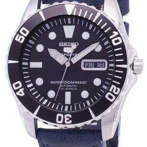 Seiko 5 Sports SNZF17K1-LS13 Automatic Dark Blue Leather Strap Men's Watch