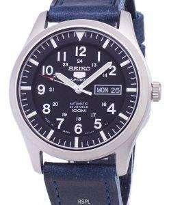 Seiko 5 Sports SNZG15J1-LS13 Japan Made Dark Blue Leather Strap Men's Watch