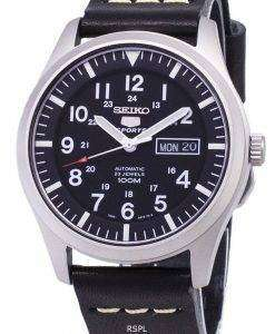Seiko 5 Sports SNZG15K1-LS14 Automatic Black Leather Strap Men's Watch