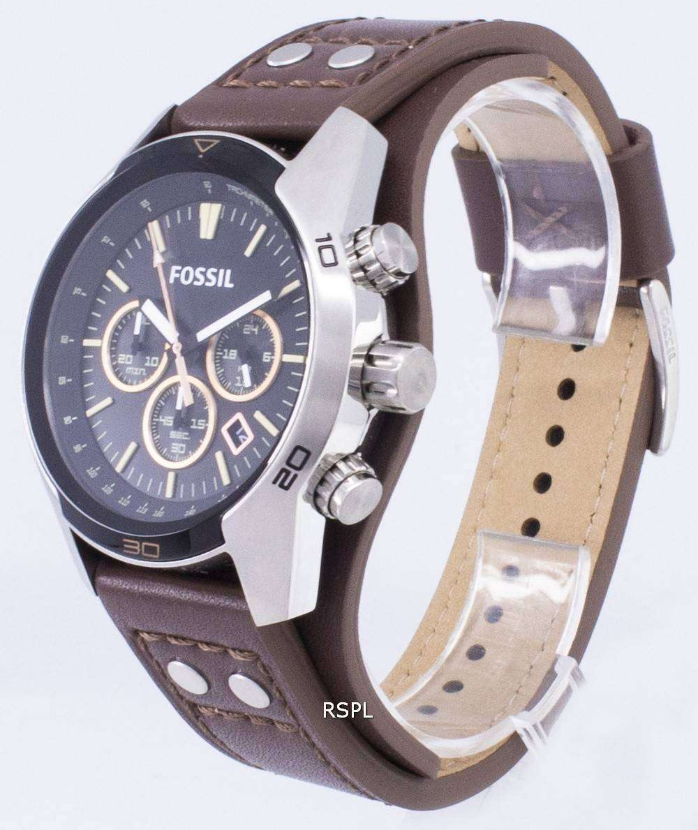 5f76b65a4 ... Fossil Coachman Chronograph Black Dial Brown Leather CH2891 Mens Watch