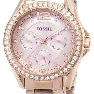 Fossil Riley Multifunction Crystal Rose Gold ES2811 Womens Watch
