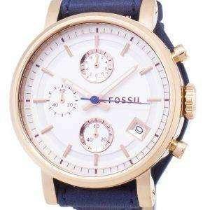 Fossil Original Boyfriend Quartz Chronograph Blue Leather Strap ES3838 Womens Watch