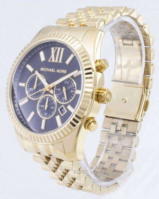 Michael Kors Lexington Chronograph Black Dial Gold-tone MK8286 Mens Watch