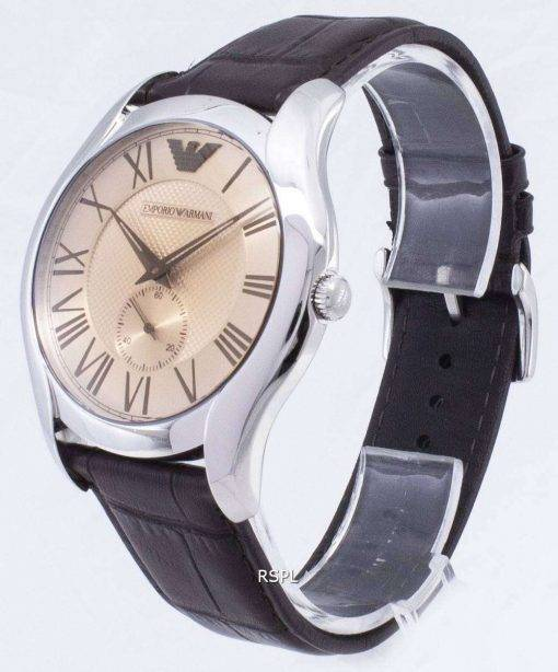 Emporio Armani Classic Amber Dial Brown Leather AR1704 Mens Watch