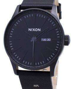 Nixon Quartz Sentry Black Leather A105-001-00 Mens Watch