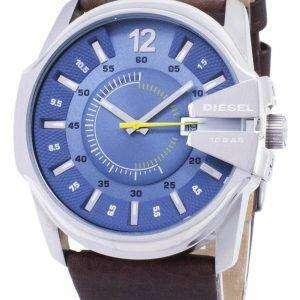 Diesel Mega Chief Quartz Blue Dial Brown Leather DZ1399 Mens Watch