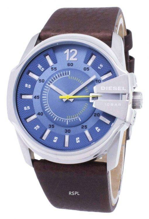 Diesel Mega Chief Quartz Blue Dial Brown Leather DZ1399 Mens Watch
