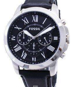 Fossil Grant Chronograph Black Leather Strap FS4812 Mens Watch